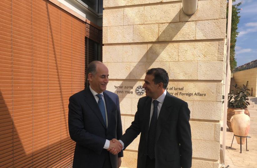Jordan's ambassador to Israel Ghassan Majali [L] with Deputy Director General for Middle East Amb. Haim Regev [R]  (photo credit: FOREIGN MINISTRY)