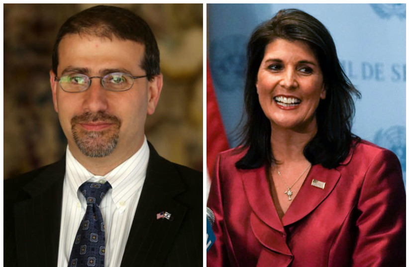 Dan Shapiro (L) Nikki Haley (R) (photo credit: MARC ISRAEL SELLEM/REUTERS)