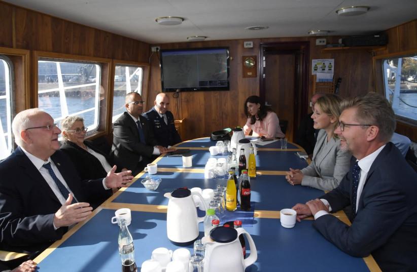 President Reuven Rivlin sitting with the Mayor of Copenhagen Frank Jensen (photo credit: HAIM ZACH/GPO)