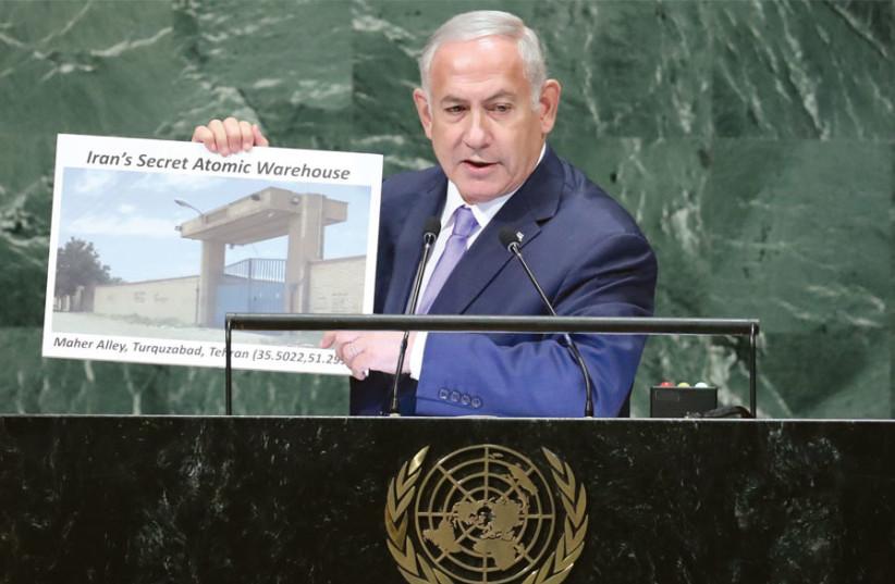 Netanyahu at the UN (photo credit: CARLO ALLEGRI/REUTERS)