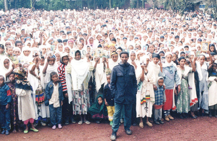 The author (front right) with 8,000 Falash Mura in 1998 ignored at the time by the State of Israel; although all of them made aliyah, about 9,000 remain in Gondar today (photo credit: YOSEF ABRAMOWITZ)
