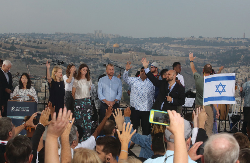 Jews and Christians from over 30 countries gather at the Haas Promenade in Jerusalem at an event organize by Eagles Wings (photo credit: MARC ISRAEL SELLEM/THE JERUSALEM POST)