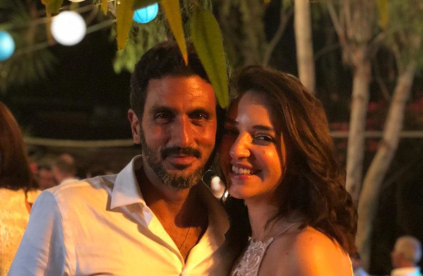 Actor Tzachi Halevy and TV anchor Lucy Aharish at their wedding, October 10, 2018 (photo credit: Courtesy)