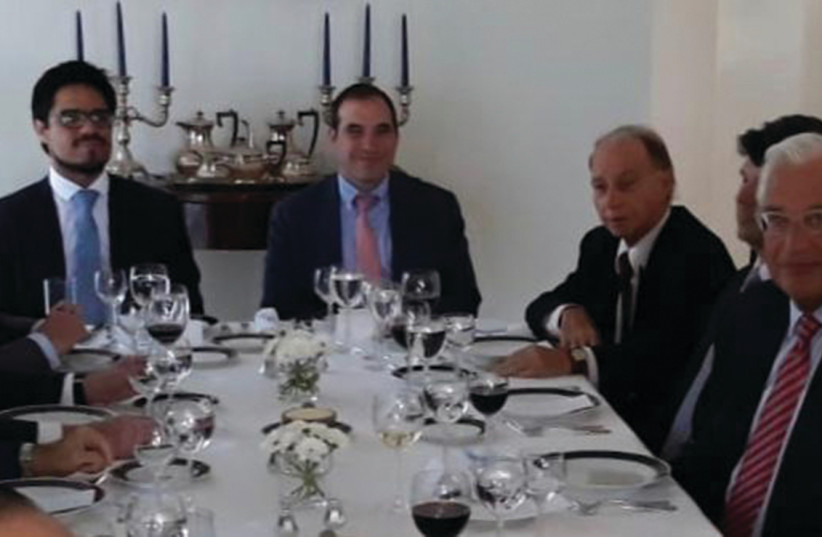 US AMBASSADOR David Friedman (second right) with Latin American colleagues at a luncheon hosted by Argentine Ambassador Mariano Caucino (third left).  (photo credit: COURTESY ARGENTINE EMBASSY)