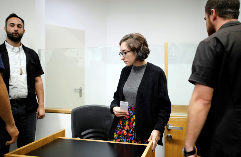 US student Lara Alqasem appears at the district court in Tel Aviv, 2018 (photo credit: AMIR COHEN/REUTERS)