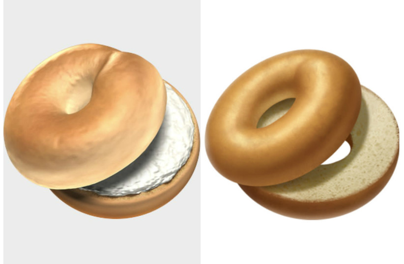 Apple's new (L) and old (R) bagel emojis, the former of which was released October, 2018 (photo credit: APPLE)