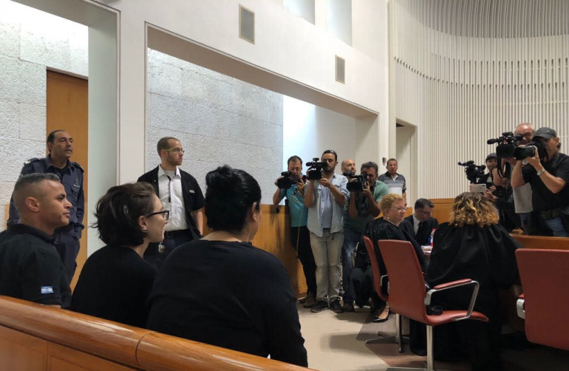 Lara Alqasem entered the courtroom for the first hearing in the High Court of Justice on October 17, 2018 (photo credit: EMILY SCHAEFFER OMER-MAN)