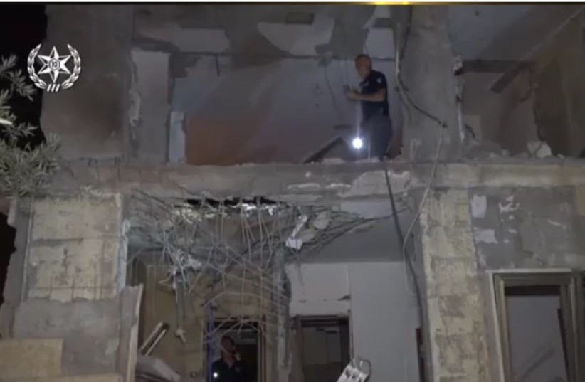 The damaged house in Beersheba from the rocket attack on Wednesday, October 17, 2018. (photo credit: ISRAEL POLICE)