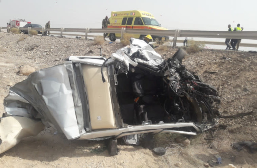A parent and her child were killed in a car accident near the Dead Sea (photo credit: SERGEANT ASAF SHABAT)