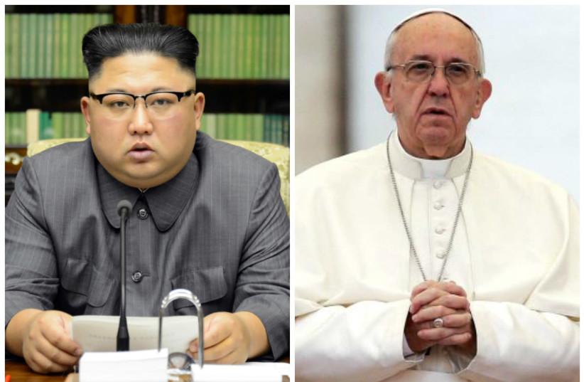 (L) North Korean leader Kim Jong Un, (R) Pope Francis (photo credit: REUTERS)