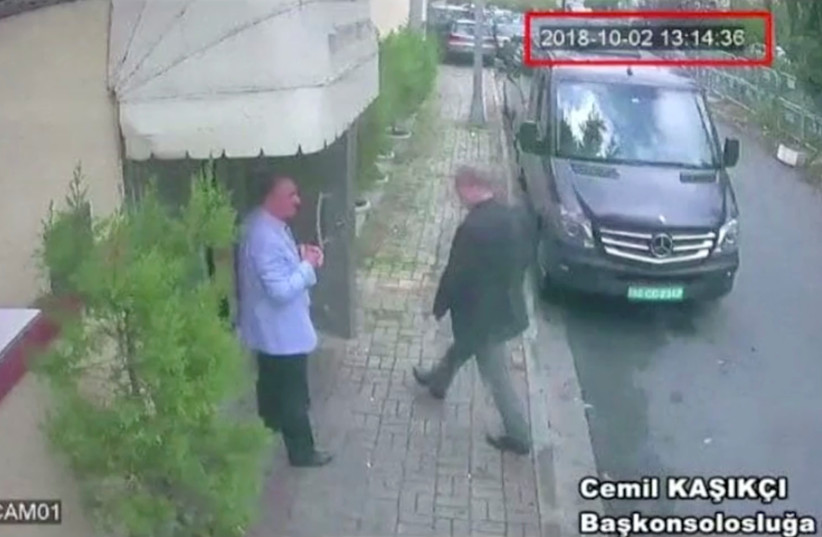A still image taken from CCTV video and obtained by TRT World claims to show Saudi journalist Jamal Khashoggi as he arrives at Saudi Arabia's consulate in Istanbul, Turkey Oct. 2, 2018 (photo credit: REUTERS)