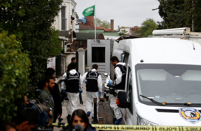 Turkish forensic officials arrive to the residence of Saudi Arabia's Consul General Mohammad al-Otaibi in Istanbul, Turkey October 17, 2018 (photo credit: REUTERS/OSMAN ORSAL)