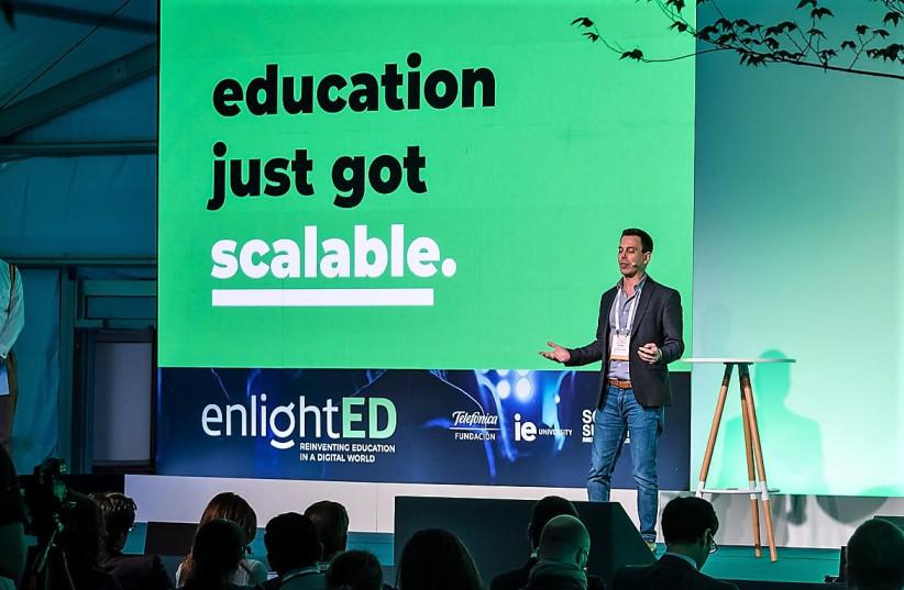 Sense Education founder and CTO Dr. Ronen Tal-Botzer gives a presentation at the South Summit conference last week  (photo credit: SENSE EDUCATION)