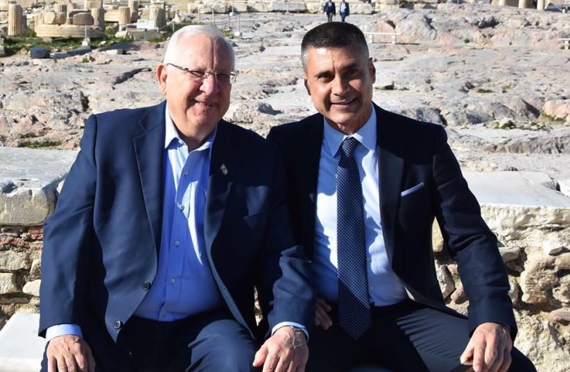 PRESIDENT REUVEN RIVLIN with David Saranga, the ambassador-designate to Romania (photo credit: PRESIDENTIAL SPOKESPERSON OFFICE)