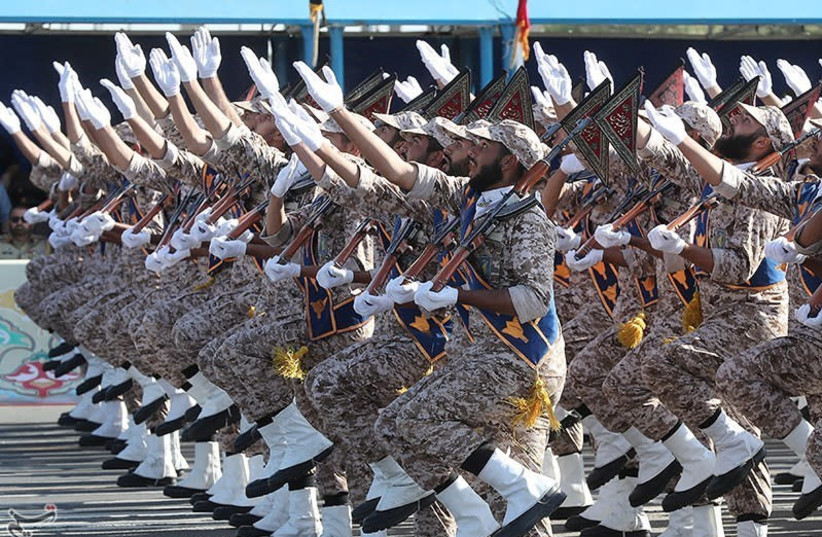 Iranian armed forces members march during the annual military parade in Tehran, Iran September 22, 2018 (photo credit: TASNIM NEWS AGENCY/HANDOUT VIA REUTERS)