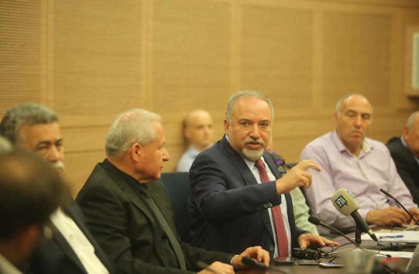 Avigdor Liberman speaks in Knesset, October 22, 2018 (photo credit: MARC ISRAEL SELLEM/THE JERUSALEM POST)
