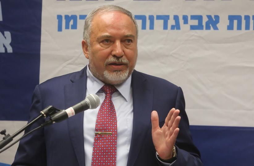 Avigdor Liberman speaks at a press conference, October 22, 2018 (photo credit: MARC ISRAEL SELLEM/THE JERUSALEM POST)