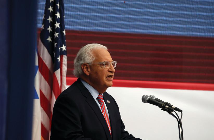 US AMBASSADOR to Israel David Friedman speaks during the dedication ceremony of the US Embassy in Jerusalem. (photo credit: REUTERS)