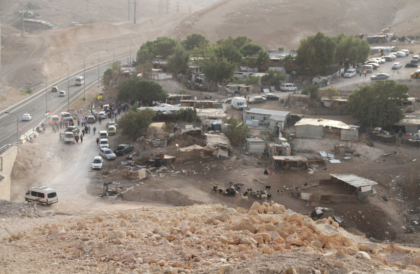 Arial view of Khan al-Ahmar and Route 1 (photo credit: TOVAH LAZAROFF)