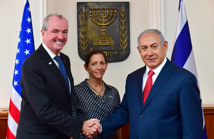 Prime Minister Benjamin Netanyahu and New Jersey Governor Philip Dunton Murphy, October 23, 2018 (photo credit: KOBI GIDEON/GPO)