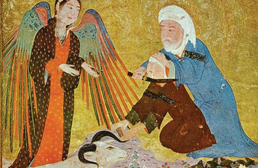 'IBRAHIM'S SACRIFICE,' Timurid Anthology, 1410-1411. (photo credit: Wikimedia Commons)