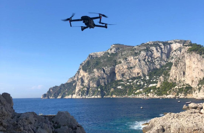 A drone used in Capri, Italy to search for a missing Israeli who vanished during sailing October 24 2018  (photo credit: MAGNUS)