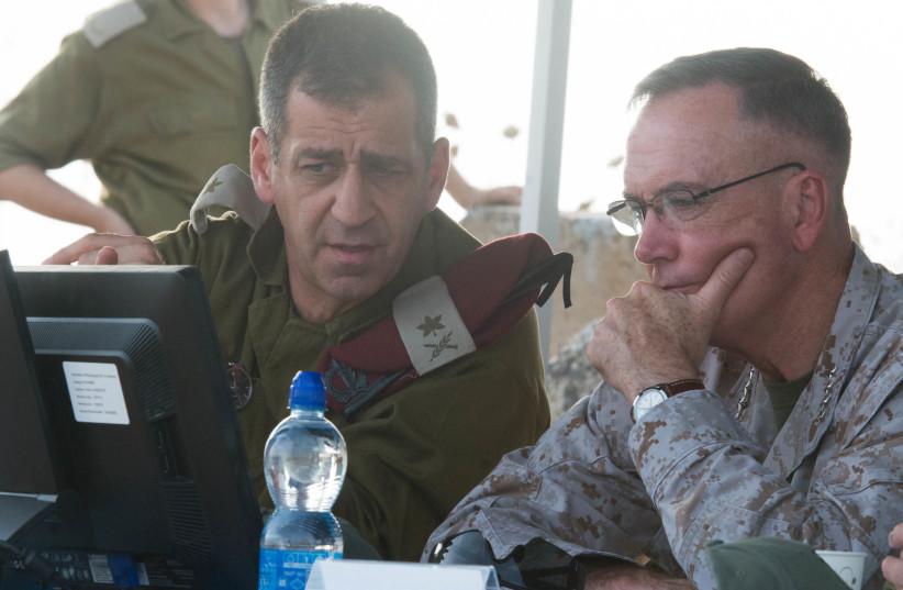 Maj.-Gen. Aviv Kochavi briefs US military representative Joseph F. Dunford (photo credit: Wikimedia Commons)