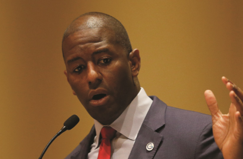 DEMOCRATIC CANDIDATE Andrew Gillum speaks at an event in Flori (photo credit: REUTERS)