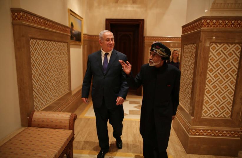 Israeli Prime minister Benjamin Netanyahu visits Sultan Qaboos bin Said in Oman (photo credit: Courtesy)