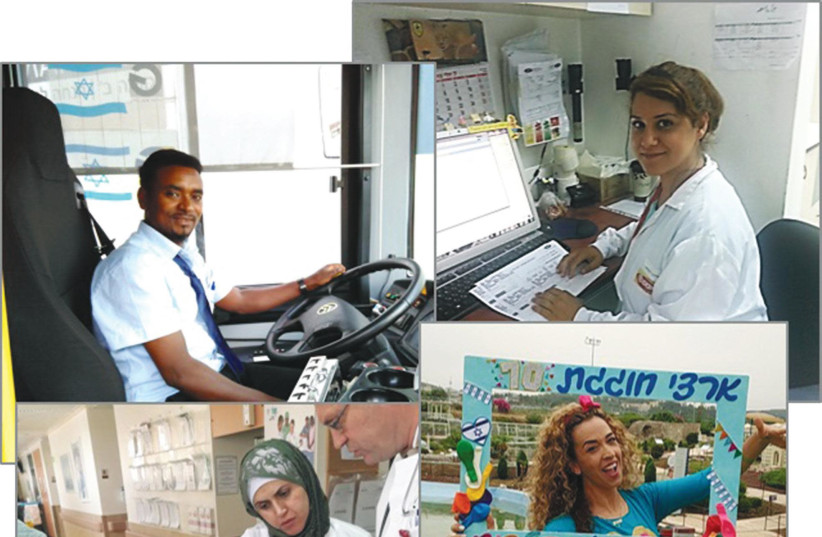 A collage of Be-Atzmi alumni in their places of employment (photo credit: Courtesy)