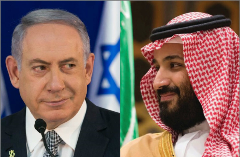 Israeli Prime Minister Benjamin Netanyahu and Saudi Arabian Crown Prince Mohammed Bin Salman (photo credit: MARC ISRAEL SELLEM/REUTERS)