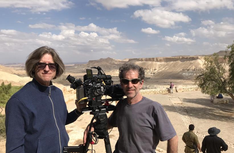 Richard Trank and cinematographer Jeffrey Victor filming at Sde Boker (photo credit: MORIAH FILMS)