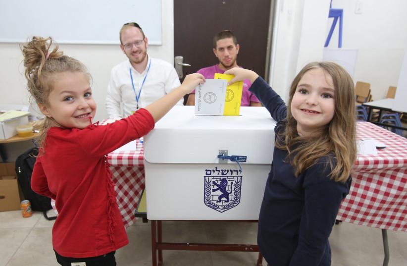 """""""childen """"vote"""" in Jerusalem's Municipal Elections, October 30, 2018 (photo credit: MARC ISRAEL SELLEM/THE JERUSALEM POST)"""