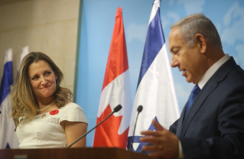 Prime Minister Benjamin Netanyahu and Canada Foriegn Minister Chrystia Freeland (photo credit: MARC ISRAEL SELLEM)