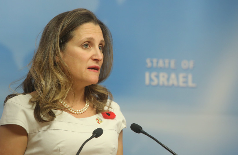 Canada Foriegn Minister Chrystia Freeland visits Israel (photo credit: MARC ISRAEL SELLEM)