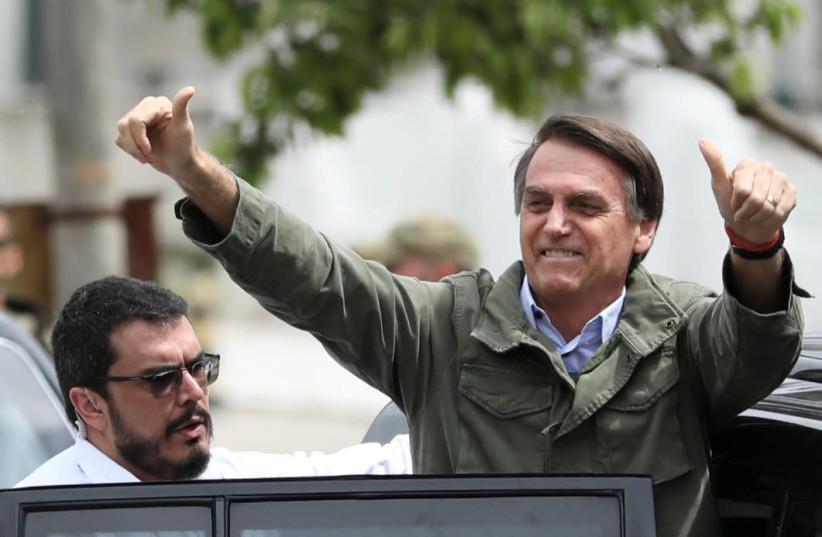 Jair Bolsonaro, Brazil's president-elect, on October 28, 2018 (photo credit: REUTERS/PILAR OLIVARES)