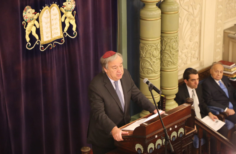 UN Secretary General Antonio Guterres addresses a memorial service for Pittsburgh victims at Park East Synagogue. (photo credit: ISRAEL CONSULATE IN NEW YORK)