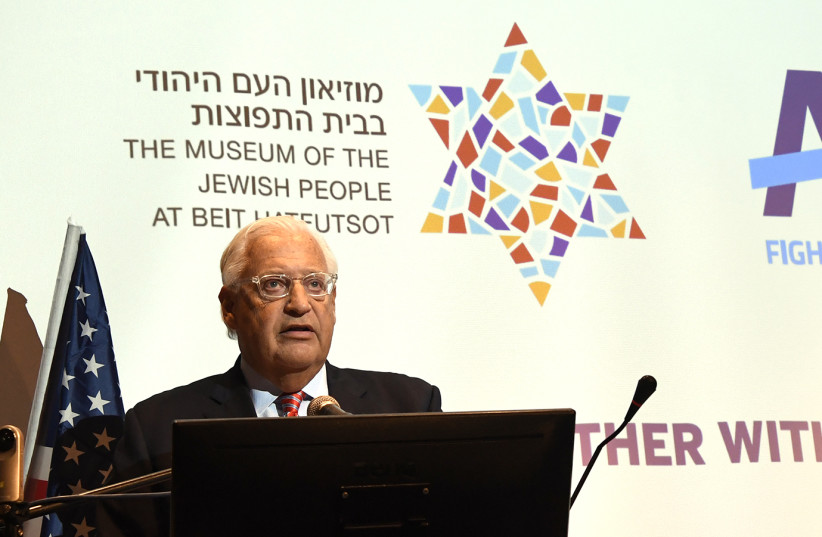 U.S. Ambassador to Israel David Friedman speaks at a memorial event hosted by the Anti-Defamation League paying homage to the victims of the shooting at the Tree of Life synagogue in Pittsburgh, this evening [October 31] in Tel Aviv. (photo credit: MATTY STERN/US EMBASSY TEL AVIV)