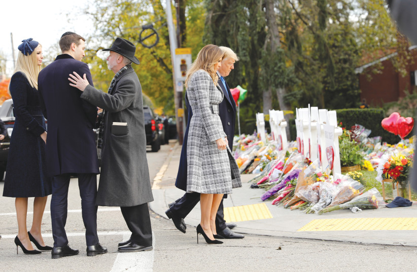 US PRESIDENT Donald Trump and his family visit Pittsburgh in the wake of the worst targeted mass murder of Jews in US history (photo credit: REUTERS)