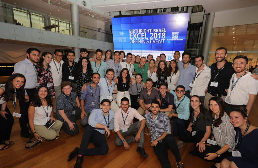 Participants at this Birthright Excel 2018 opening event at the Tel Aviv Stock Exchange (photo credit: AVISHAI FINKELSTEIN)