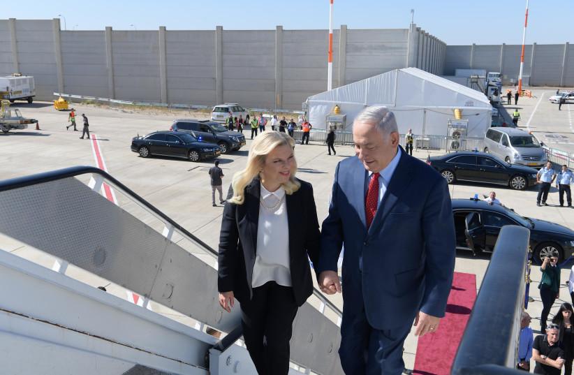 Prime Minister Benjamin Netanyahu and his wife Sarah take off from Lorna Airport, Bulgaria (photo credit: AMOS BEN-GERSHOM/GPO)