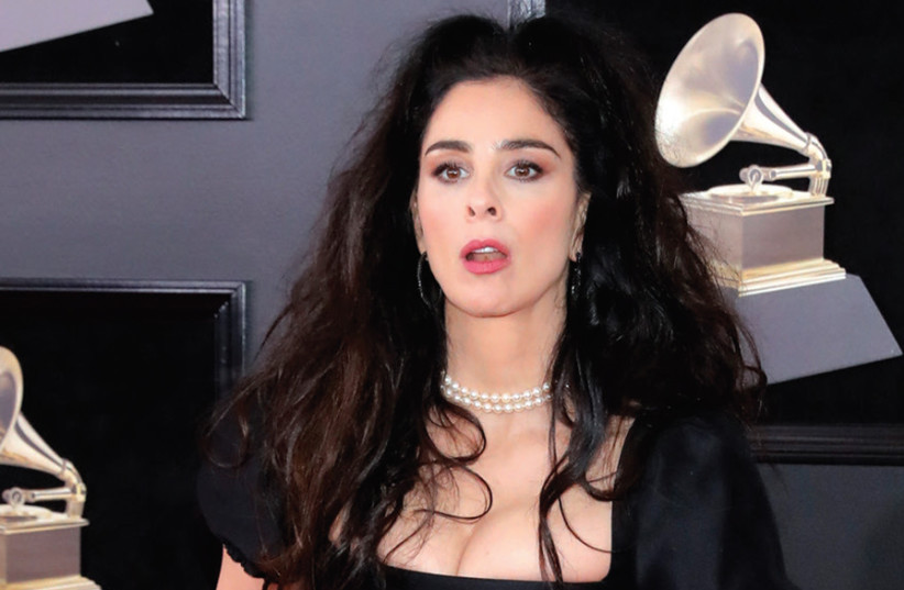 Jewish comedian Sarah Silverman arrives at the 60th Annual Grammy Awards this year (photo credit: ANDREW KELLY / REUTERS)