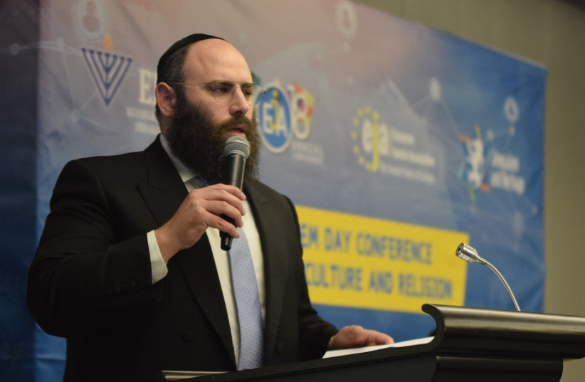 Founder and Chairman of the European Jewish Association Rabbi Menachem Margolin speaking at the opening of the EJA's annual conference in Brussels on Tuesday (photo credit: YONI RYKNER)