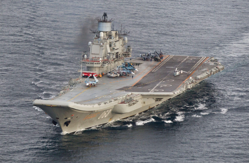 Russian aircraft carrier Admiral Kuznetsov in international waters off the coast of Northern Norway on October 17, 2016 (photo credit: REUTERS)