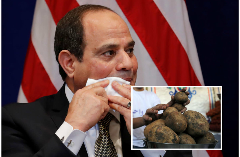 Egyptian President Abdel Fatah al-Sisi (R), juxtaposed with potatoes at a temporary tent with government subsidised goods, after consumer prices increase across the country, in Cairo, Egypt October 28, 2018 (photo credit: REUTERS/CARLOS BARRIA & REUTERS/MOHAMED ABD EL GHANY)