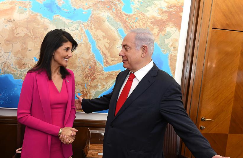 U.S. Permanent Representative to the UN, Ambassador Nikki Haley meets Israeli Prime Minister Benjamin Netanyahu at his office in Jerusalem, June 7, 2017 (photo credit: U.S. EMBASSY JERUSALEM)