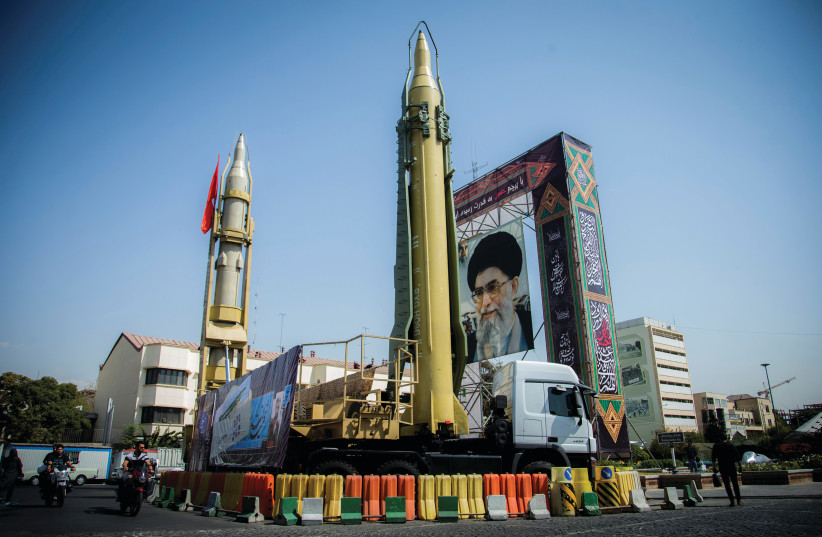 AN IRANIAN ballistic missile on display in Tehran.  (photo credit: REUTERS)