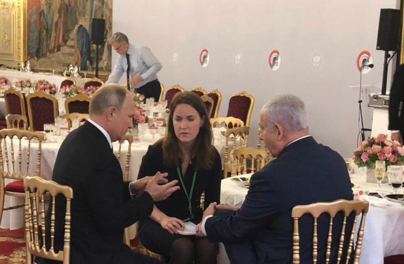 Prime Minister Benjamin Netanyahu (R) and Russian President Vladimir Putin (L), November 11th, 2018 (photo credit: Courtesy)