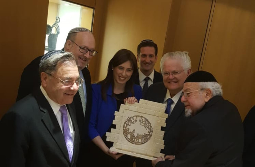 Tzipi Hotovely bestows Rabbi Aryeh Scheinberg with award recognizing his work for Jewish-Christian relations. (photo credit: CENTER FOR JEWISH-CHRISTIAN UNDERSTANDING)