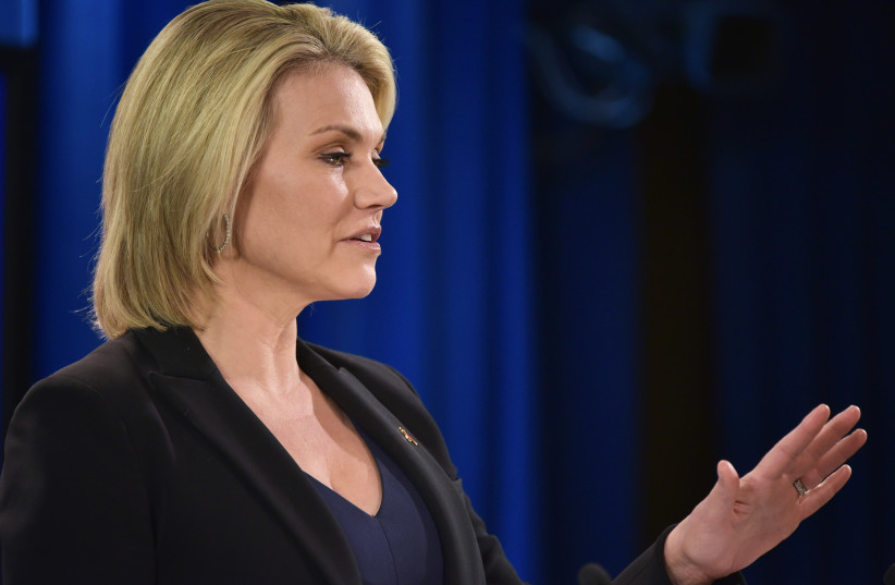 State Department Spokesperson Heather Nauert speaks during a briefing at the State Department in Washington, DC on November 30, 2017 (photo credit: AFP PHOTO)